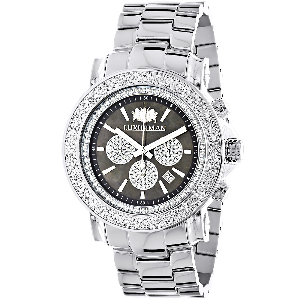 Large Face Watches for Men: Luxurman Diamond Watch Chronograph 0.25ct Main Image