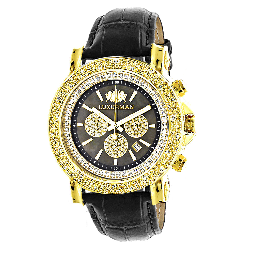 Large Luxurman Mens Watch with Diamonds 0.25ct Yellow Gold Plated Black MOP Main Image