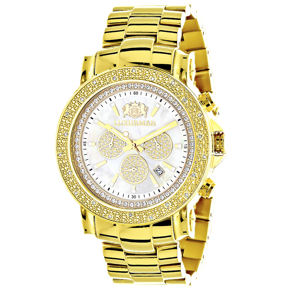 Large Luxurman Mens Watch with Diamonds 0.25ct Yellow Gold Plated Escalade