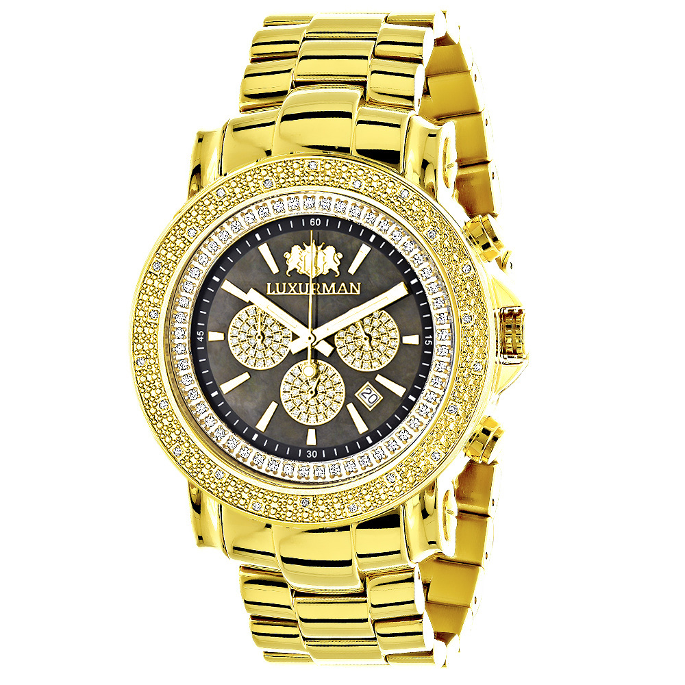 Large Luxurman Mens Watch with Diamonds 0.25ct Yellow Gold Plated Main Image