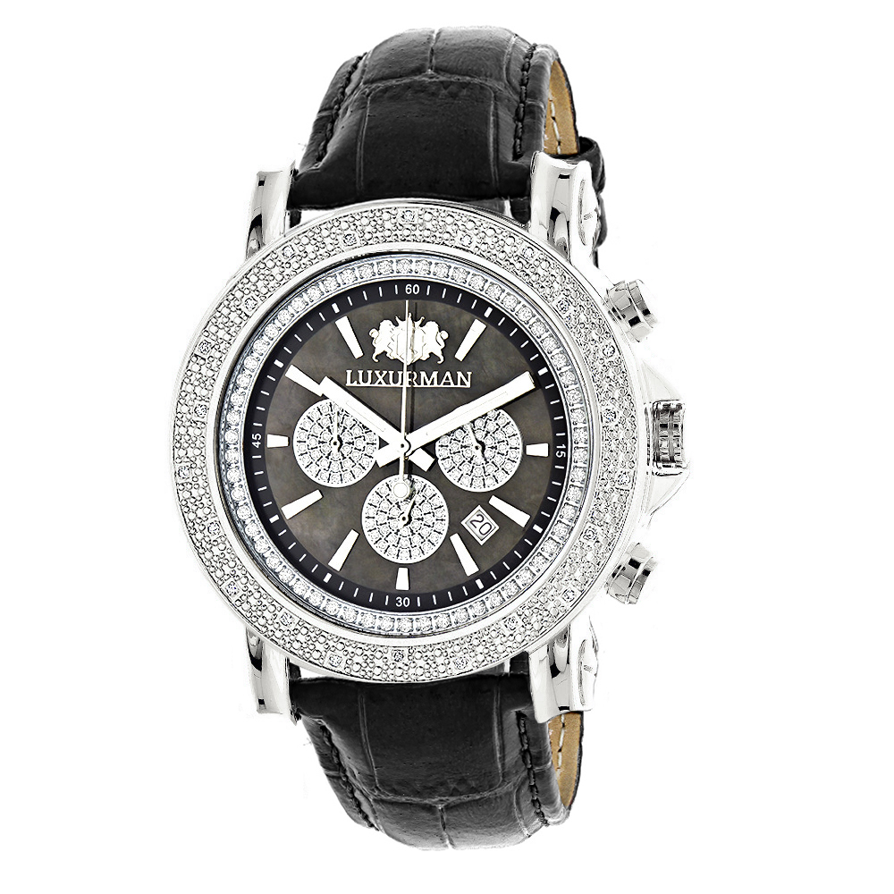 Large Mens Diamond Watch with Black Leather Band Luxurman Escalade 0.25ct