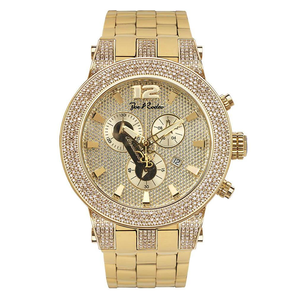 Joe Rodeo Broadway JRBR12 Oversized Mens Diamond Watch Yellow Goldtone 5ct Joe Rodeo Broadway JRBR12 Oversized Mens Diamond Watch Yellow Goldtone 5ct Main Image