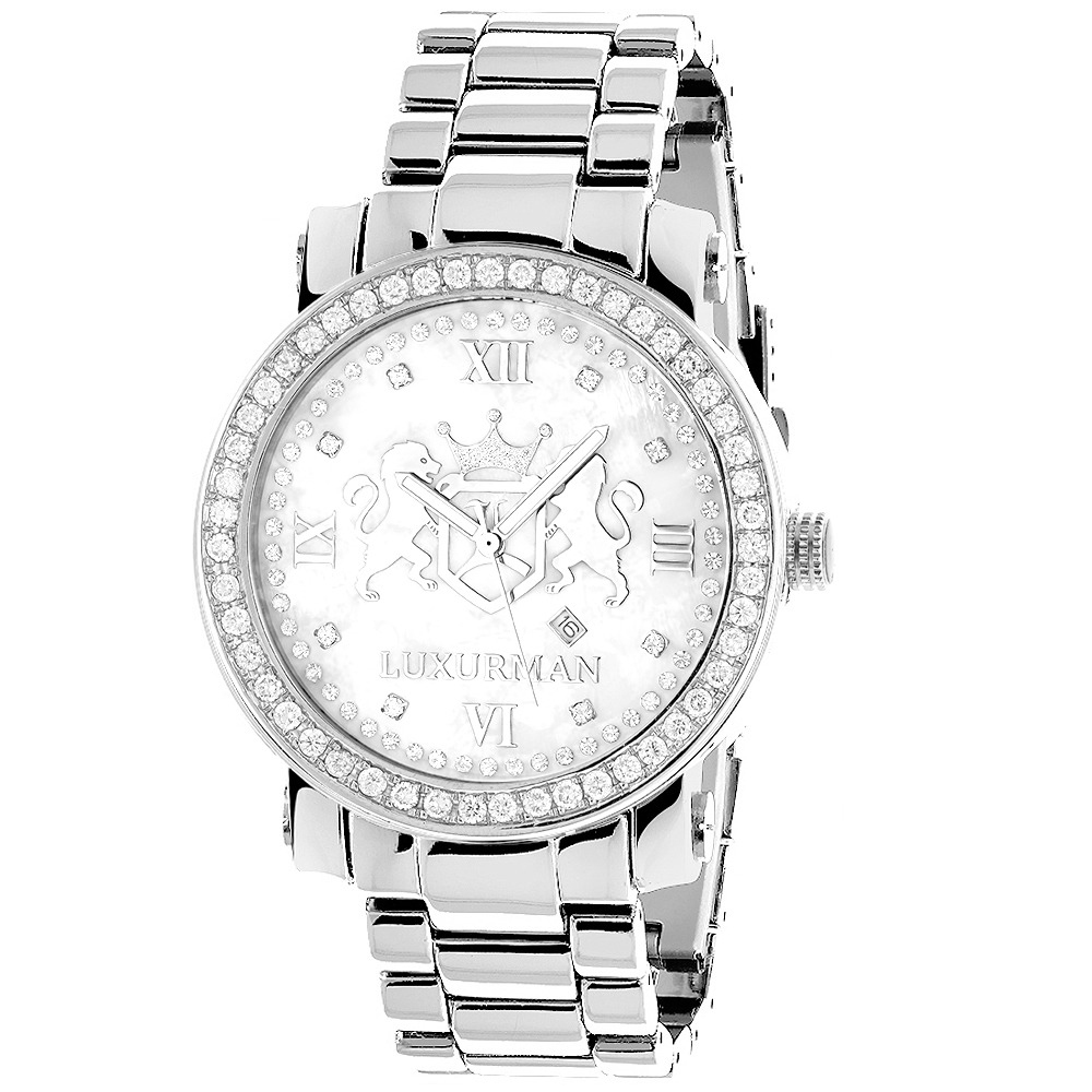 Large Mens Diamond Watches: Luxurman Phantom VS Diamonds Watch 4 ct Main Image