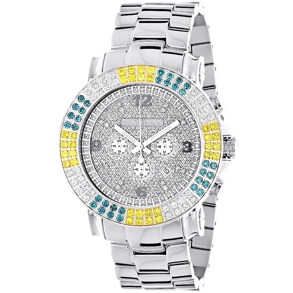 Large Mens Multicolor White Yellow Blue Diamond Watch 4ct Luxurman Escalade Main Image