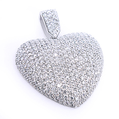 Large Pave Diamond Heart Pendant 10ct 14K Gold Main Image