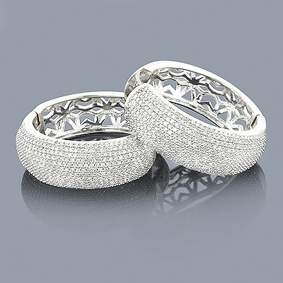 Large Pave Diamond Hoop Earrings 2.49ct 14K