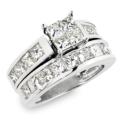 Large Princess Cut Diamond Engagement Ring Set 5.33ct Channel Setting Main Image
