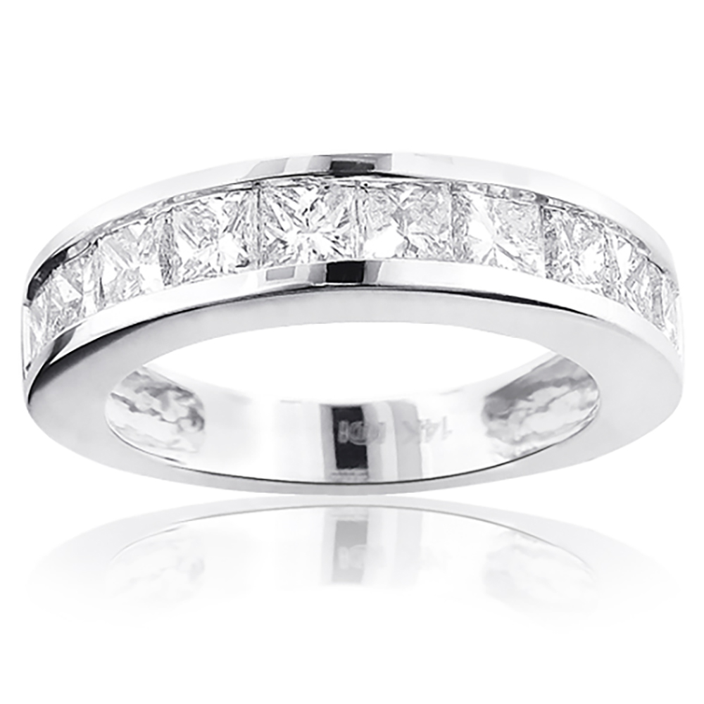 Large Princess Cut Diamond Wedding Band 2.5ct 14K Gold White Image