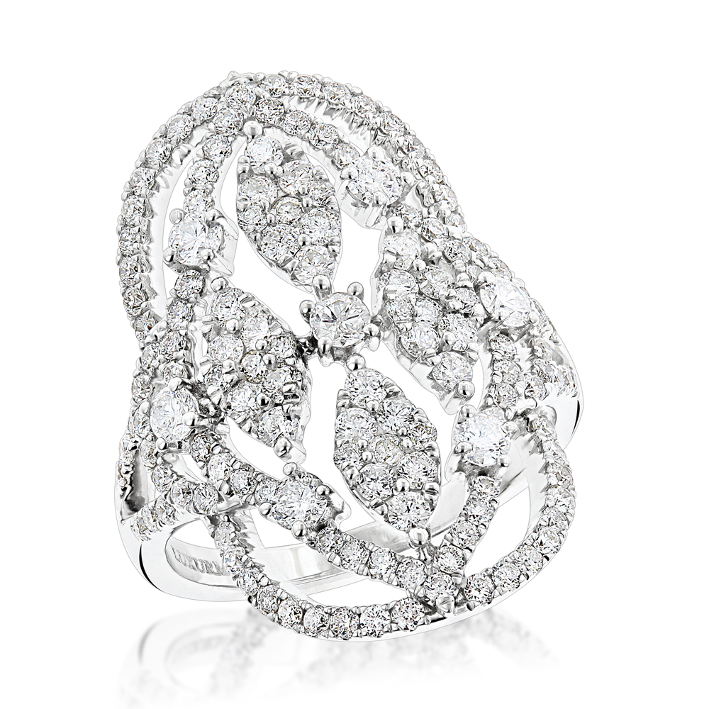 Large Rings: Luxurman Right Hand Diamond Ring for Women 2 carats 14K Gold White Image