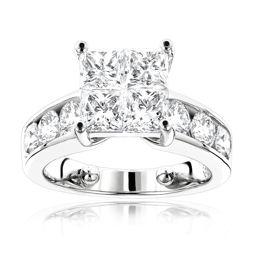 Large Round and Princess Cut Diamond Engagement Ring 3.4ct White Image