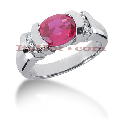 Large Ruby Rings: Ladies Diamond Ring 14K 0.18ctd 3ctr Main Image