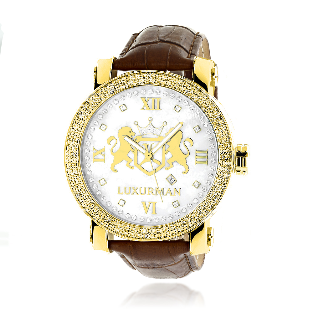 Large Yellow Gold Plated Diamond Watch for Men by Luxurman Phantom 0.12ct Main Image