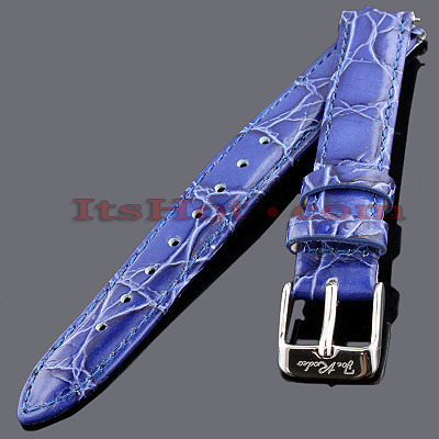 Leather Watch Bands: Joe Rodeo Watch Strap 14mm Blue Leather Watch Bands: Joe Rodeo Watch Strap 14mm Blue