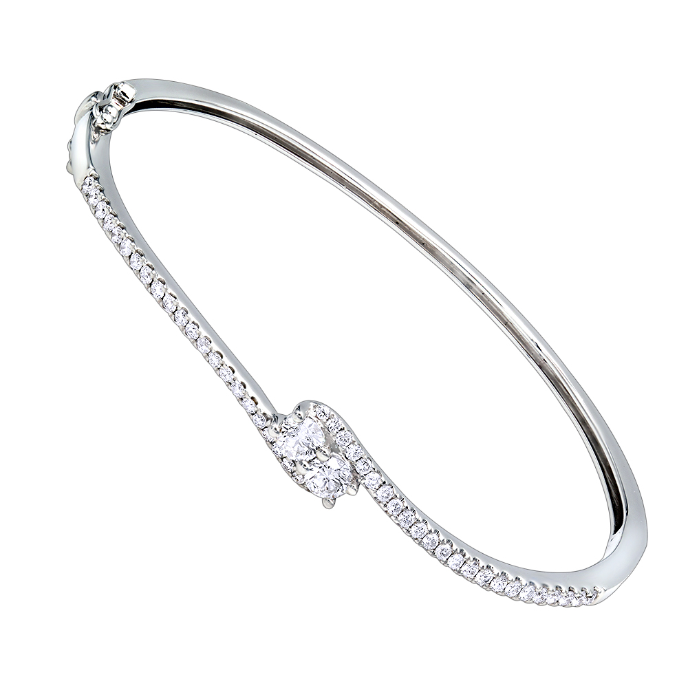 Love and Friendship Womens Diamond Bangle Bracelet 14k Gold 1.1ct Luxurman White Image