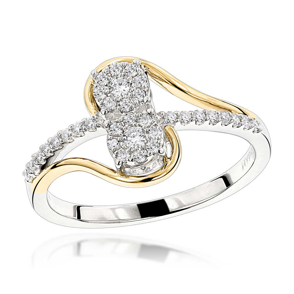 Love & Friendship Rings: 14K Gold 2 Cluster Diamond Ladies Ring 0.25ct