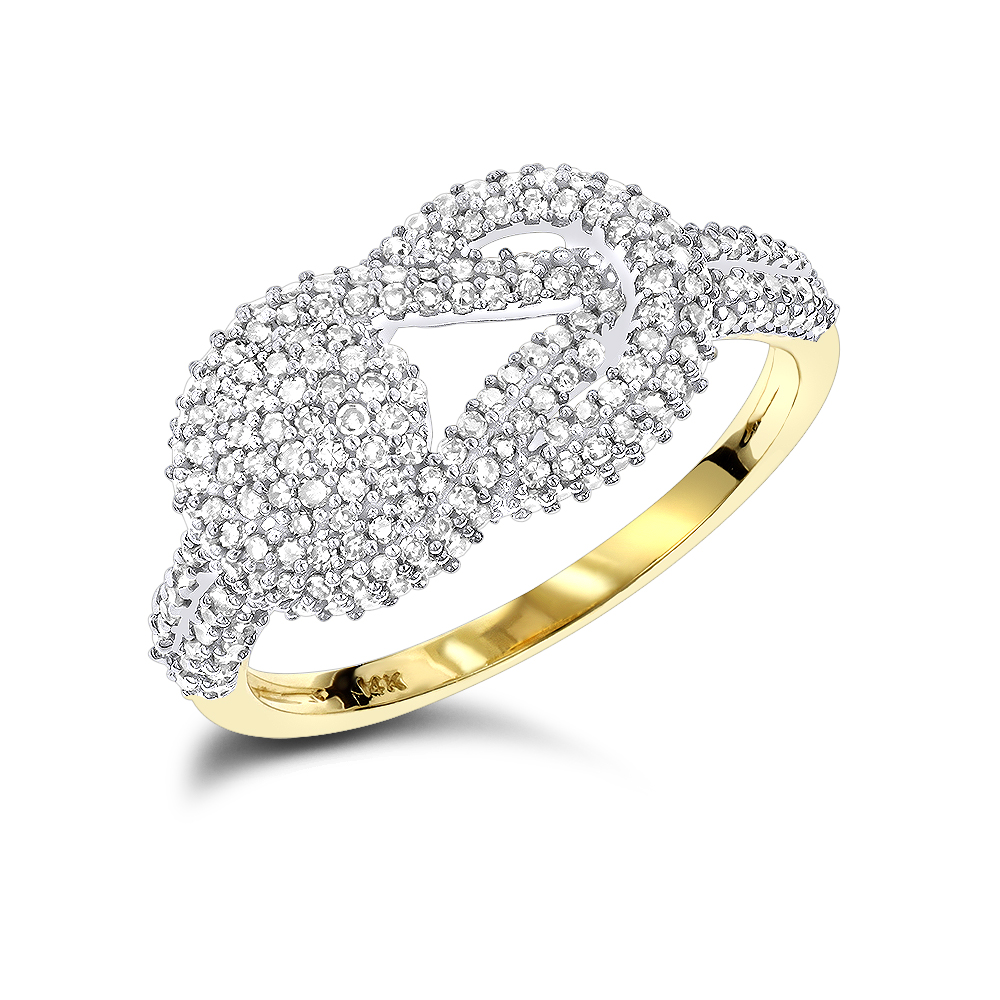 Love Knot Diamond Ring 14K 0.5ct Yellow Image