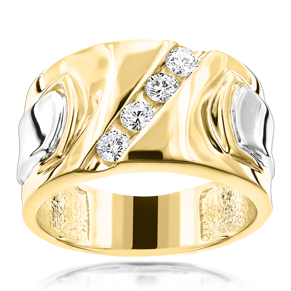 Luccello Brand 18K Gold Mens Designer Diamond Ring G VS 0.5ct Yellow Image