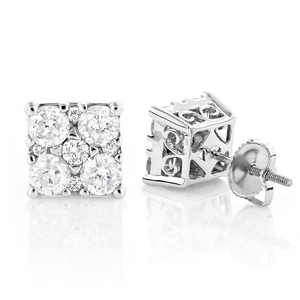 Lux 2 Carat Diamond Stud Earrings 14K Gold White Image