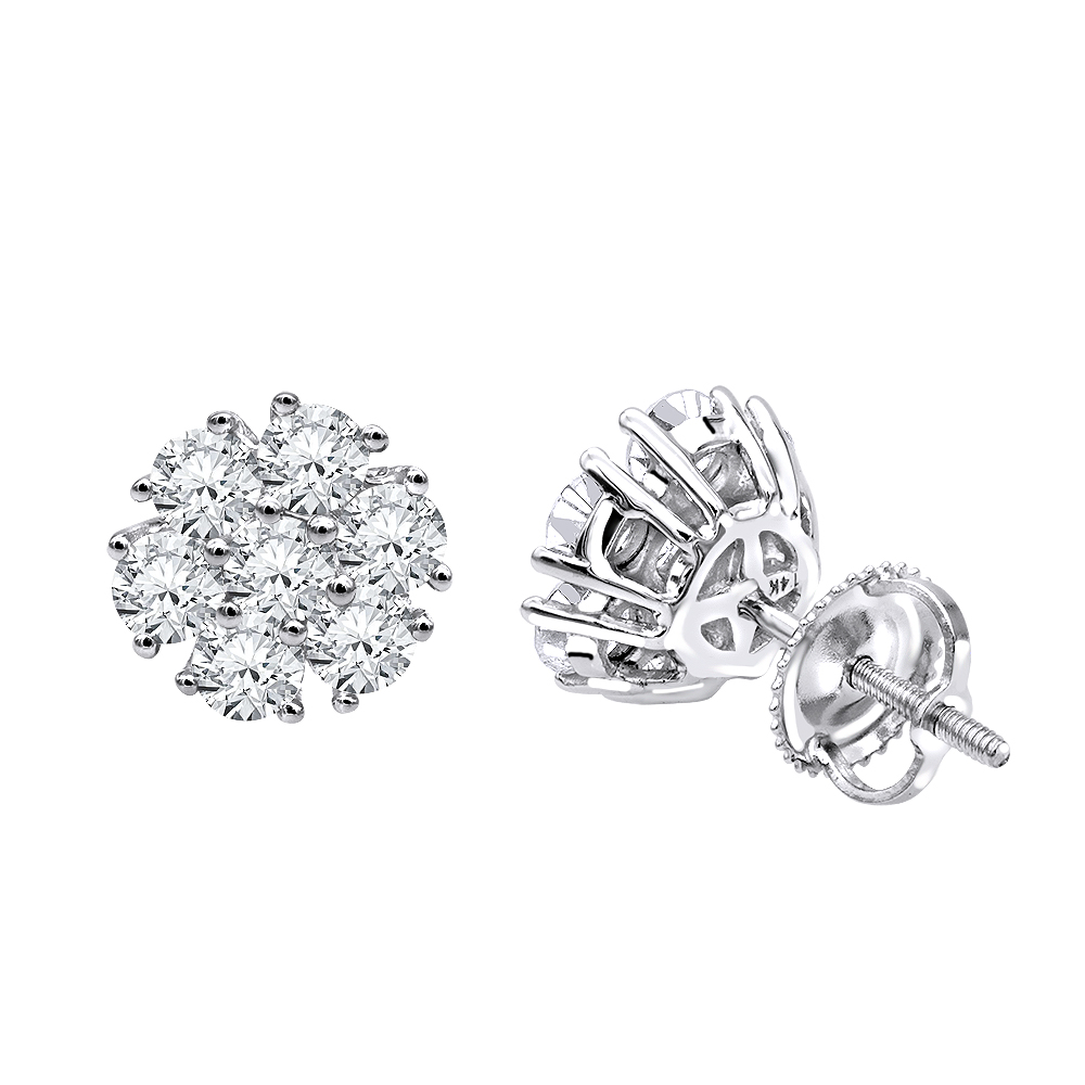 Luxurman 1 1/2ct Diamond Flower Cluster Earrings Studs in 14k Gold White Image