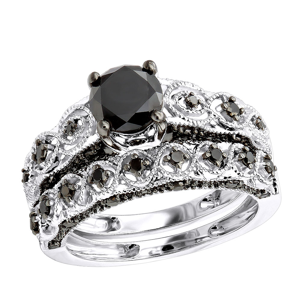 Luxurman 10k Gold Black Diamond Infinity Engagement Ring Set 1.55ct White Image