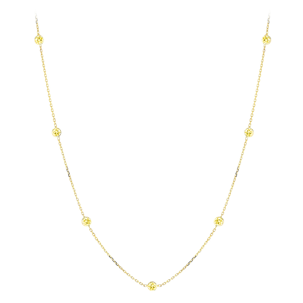 Luxurman 14K Gold Chain Necklace with Yellow Diamonds by the Yard 0.7ct Yellow Image