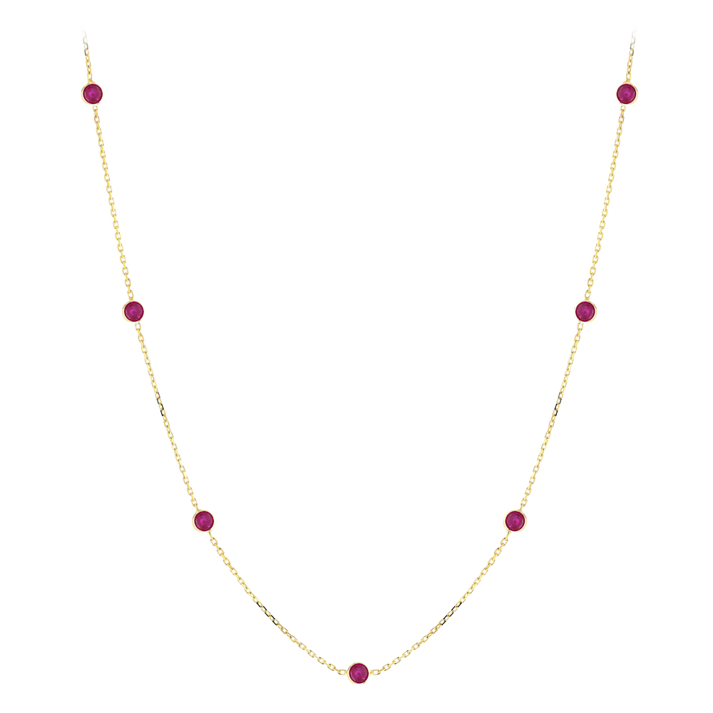 Luxurman 14K Gold Ladies Chain Necklace with Rubies by the Yard 1.6ct 16in Yellow Image