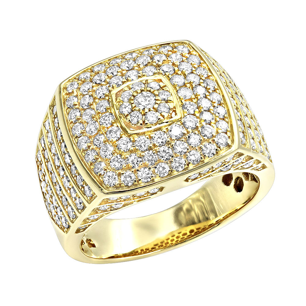 Luxurman 14k Gold Mens Diamond Ring Square Shape 2.5ct Pinky Ring Yellow Image