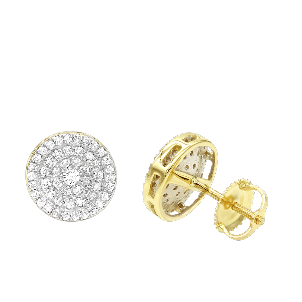 Luxurman 14K Gold Pave Round Diamond Cluster Earrings Studs 1/2 Carat Yellow Image