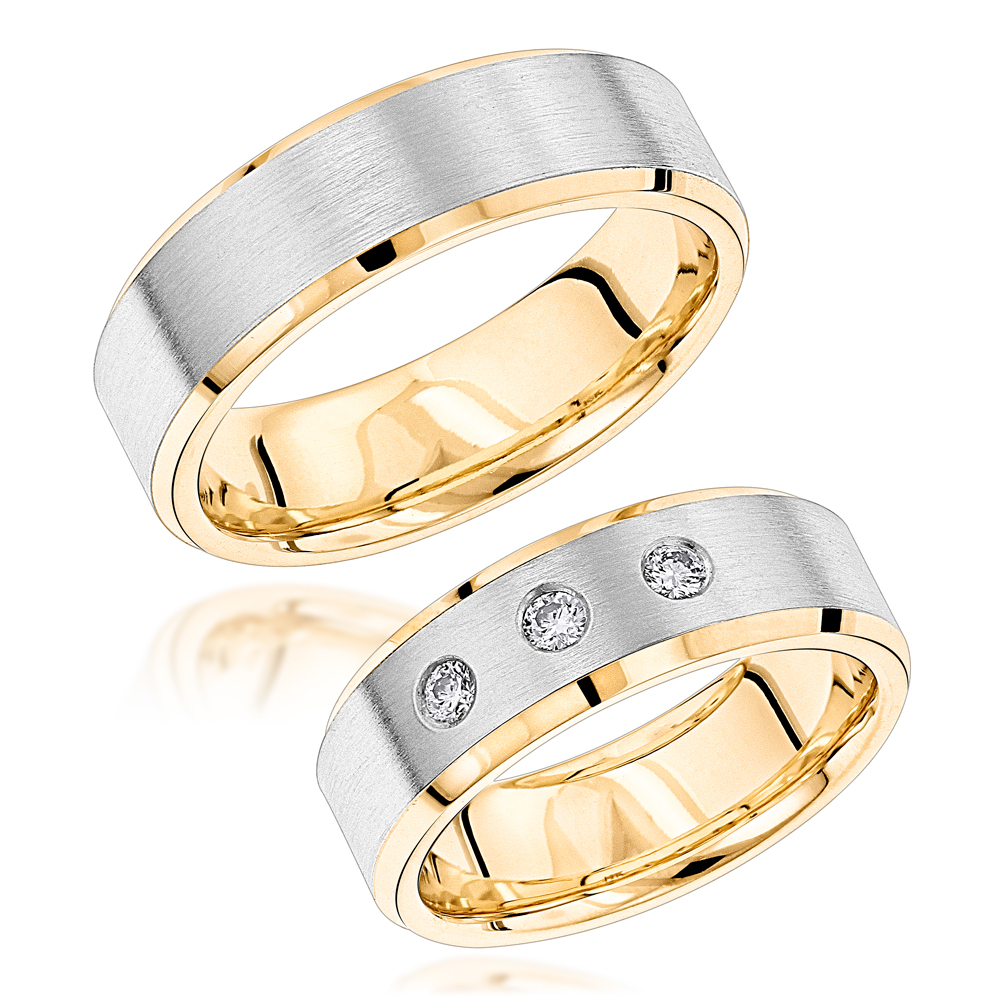 Luxurman 14K Gold Two Tone His and Hers Diamond Wedding Band Set 0.12ct Yellow Image