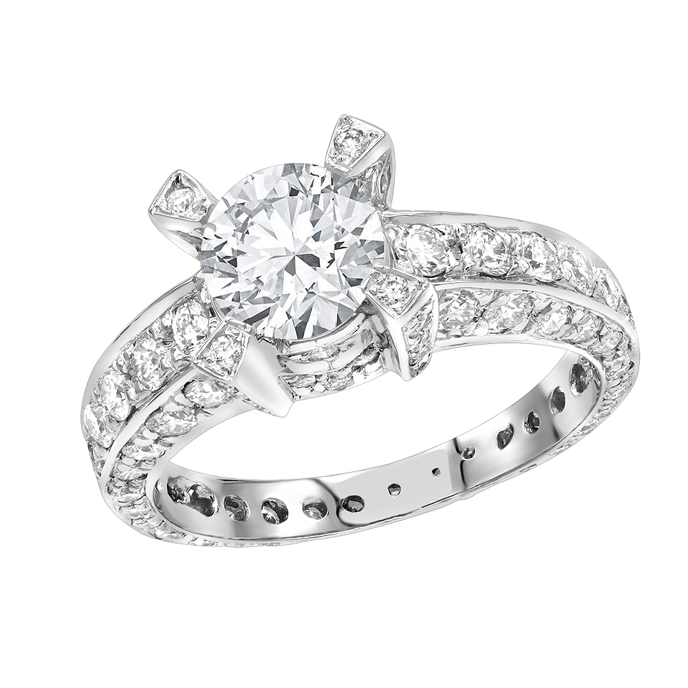 LUXURMAN 14K Gold Unique Eternity Style Diamond Engagement Ring 3.25ct G/VS White Image