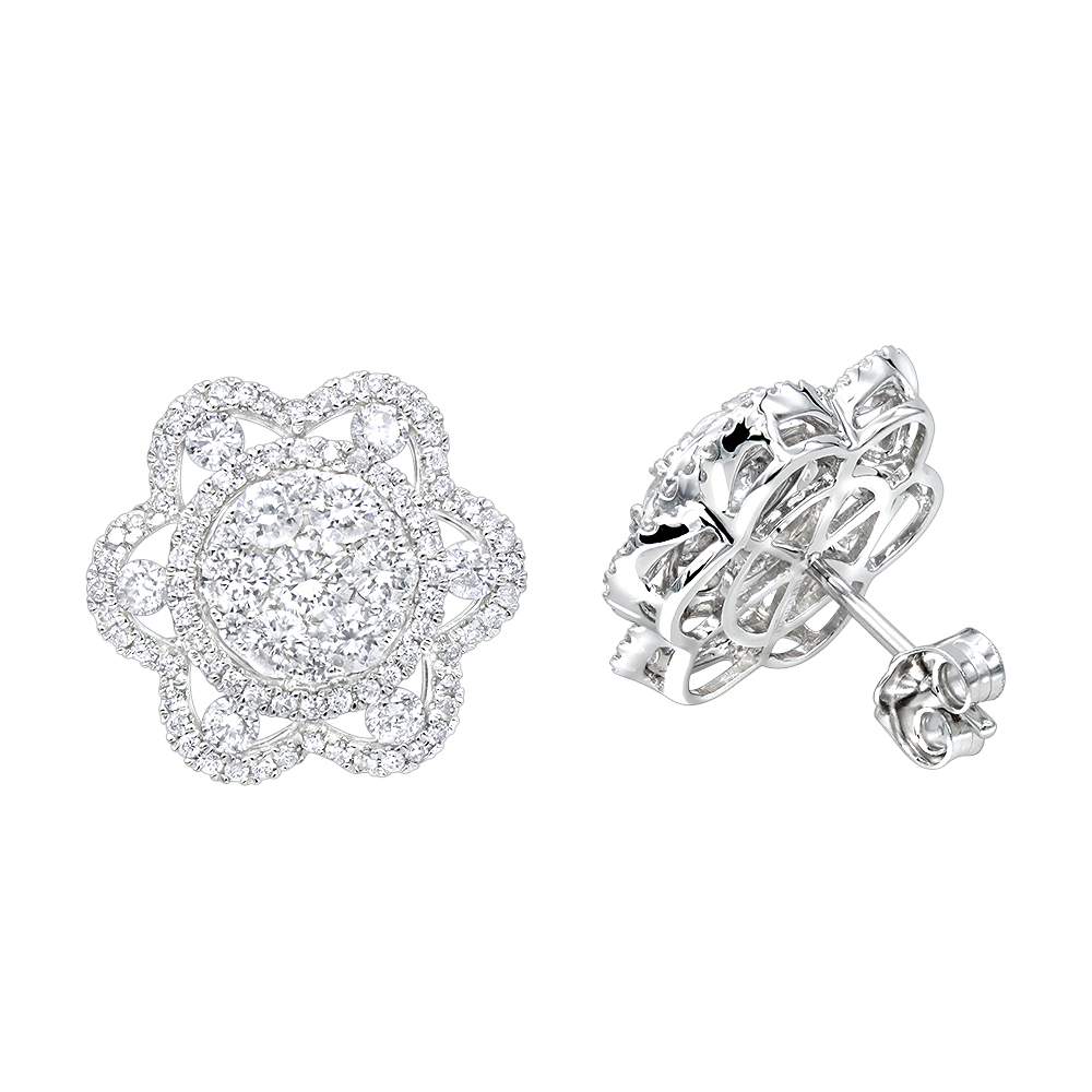 81dbe12746e77 LUXURMAN 14K Gold Unique Flower Ladies Diamond Cluster Stud Earrings 2.2ct