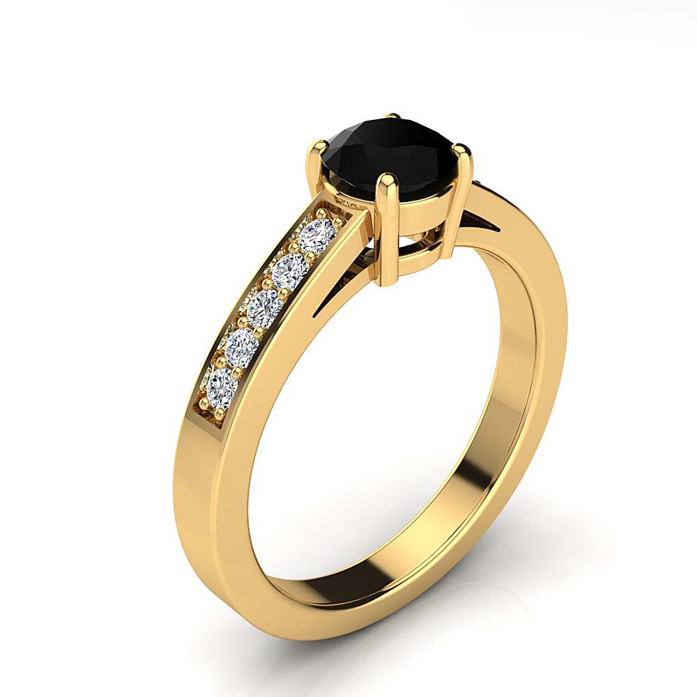 Luxurman 14K Gold White and Black Diamond Engagement Ring 0.65ct Yellow Image