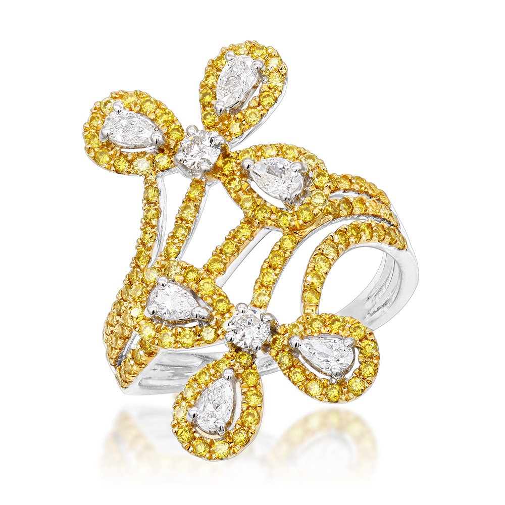 7188c30a9bb LUXURMAN 14K Gold White Yellow Diamond Flower Cocktail Ring for Women 1.5ct