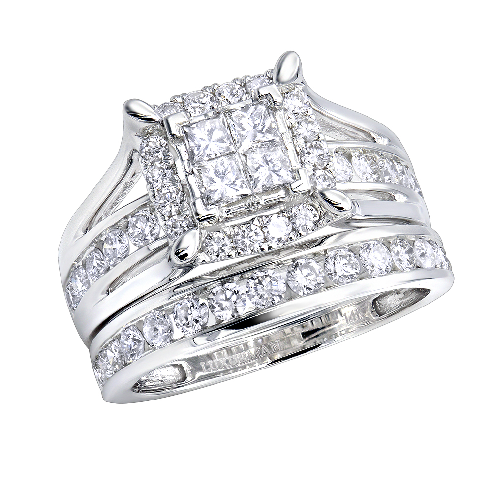 Luxurman 1.75ct Diamond Engagement Ring and Wedding Band Set in 14k Gold White Image