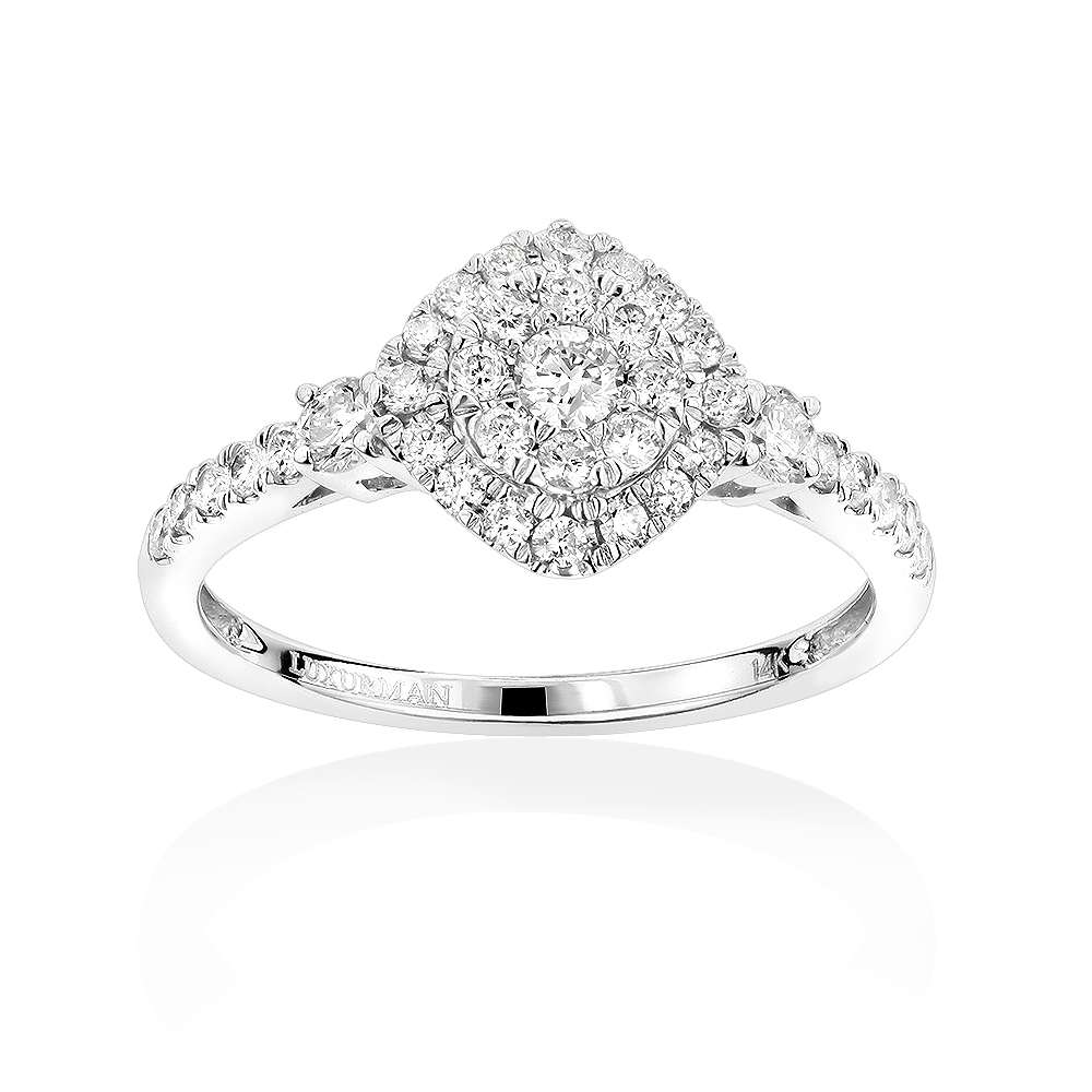 Luxurman Affordable Diamond Cluster Rings: Ladies Engagement Ring 14k Gold White Image