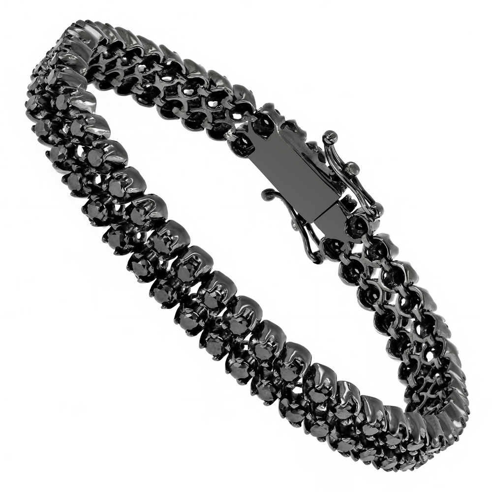 Luxurman Black Diamond Bracelets: 2 Row Mens Diamond Tennis Bracelet 7ctw Main Image
