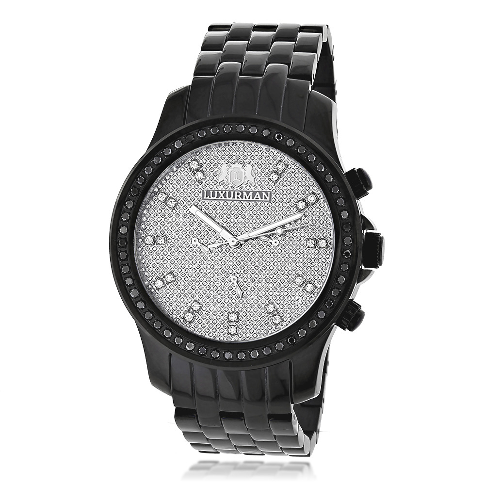 Luxurman Black Diamond Watch 2.25ct Mens