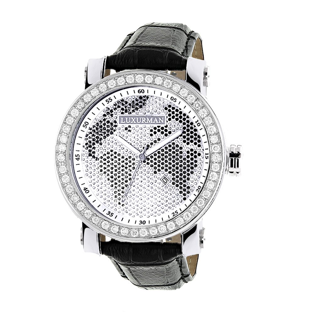 Luxurman Black & White Worldface VS Diamond Watch 4 ct Main Image