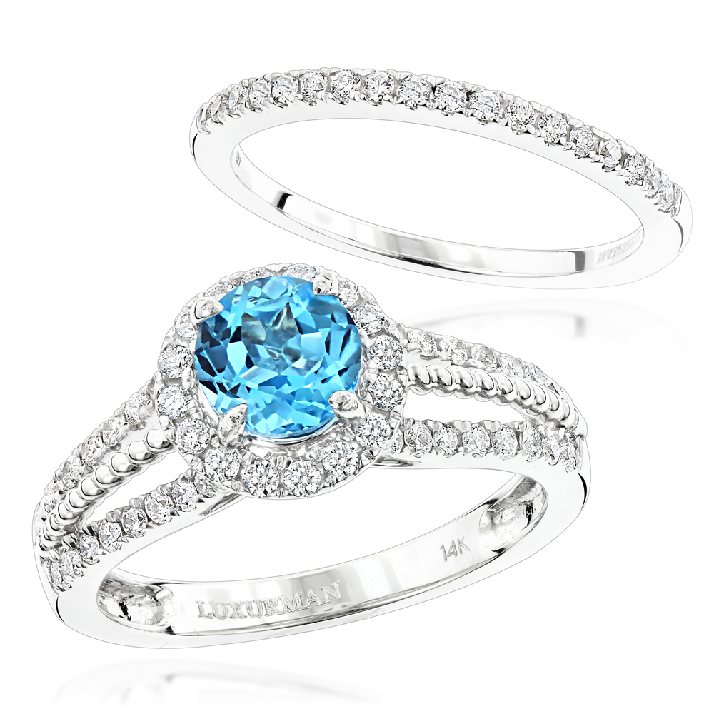 Luxurman blue topaz diamond engagement ring and wedding for Blue topaz wedding ring sets