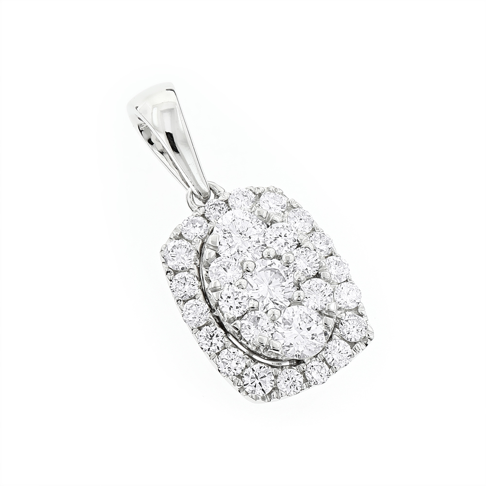Luxurman Cluster Oval Diamond Pendant for Women 14K Gold 0.89ct G-H VS-SI White Image