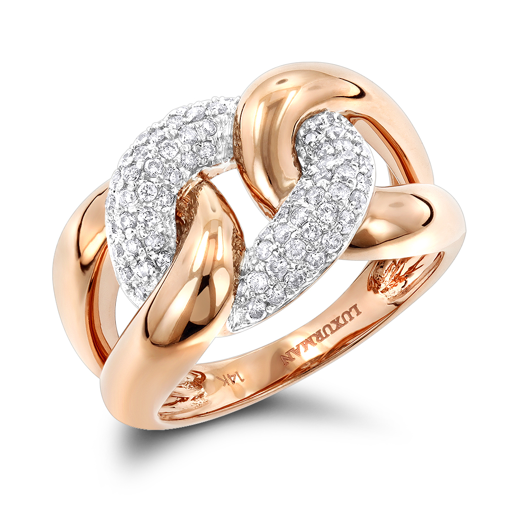 Luxurman Cocktail Rings Love Knot Cuban Link Diamond Ring for Women 1/2ct Rose Image