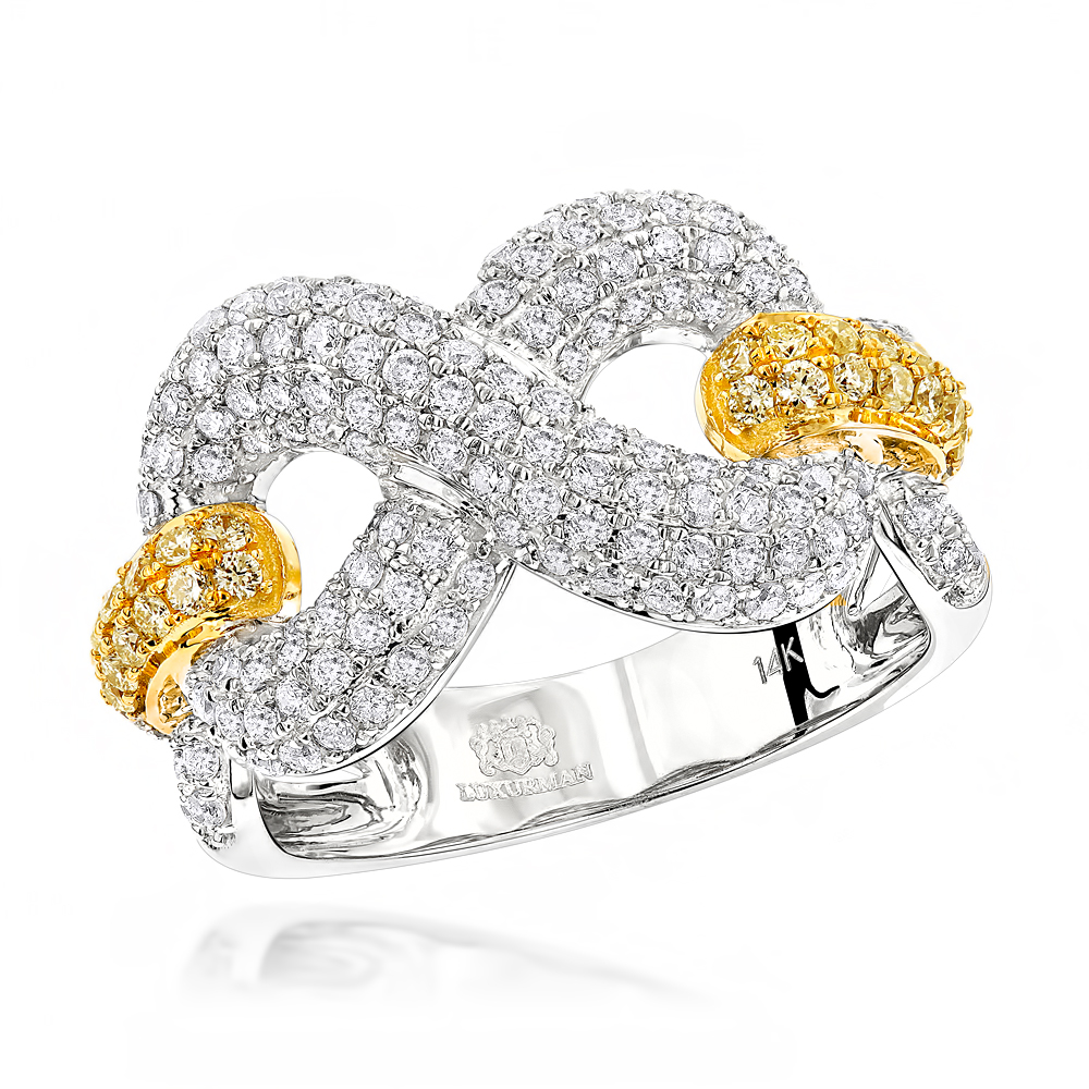 Luxurman Cocktail Rings Unique White Yellow Diamond Infinity Ring for Women White Image