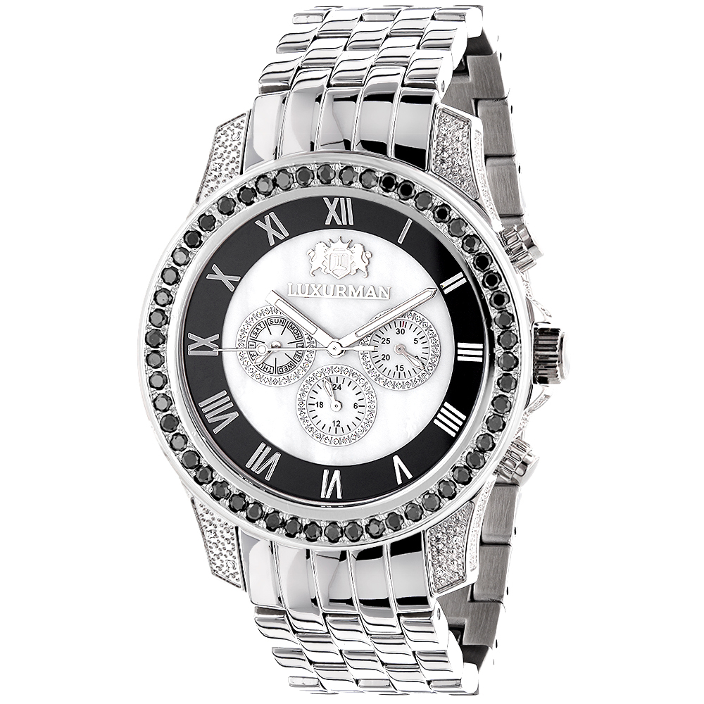 Luxurman Designer Watches: Unique Men's White & Black Diamond Watch 3.25ct Main Image