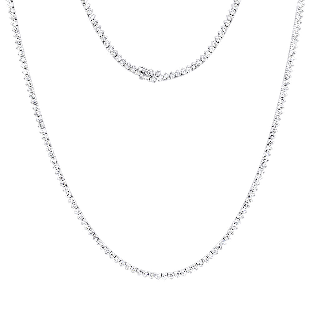 Luxurman Diamond Chains 14k Gold Mens Diamond Tennis Necklace 34in 20ct White Image