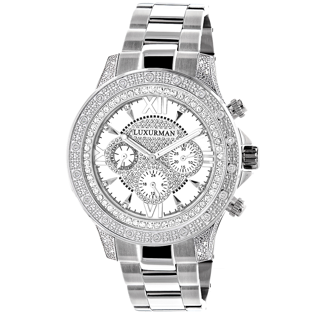 Luxurman Diamond Mens Watch 0.5ct White Gold Plated Swiss Mvt Main Image