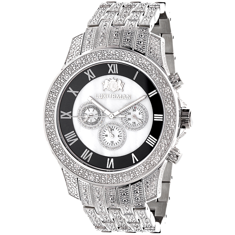 Luxurman Diamond Watches Mens Diamond Watch 1.25ct