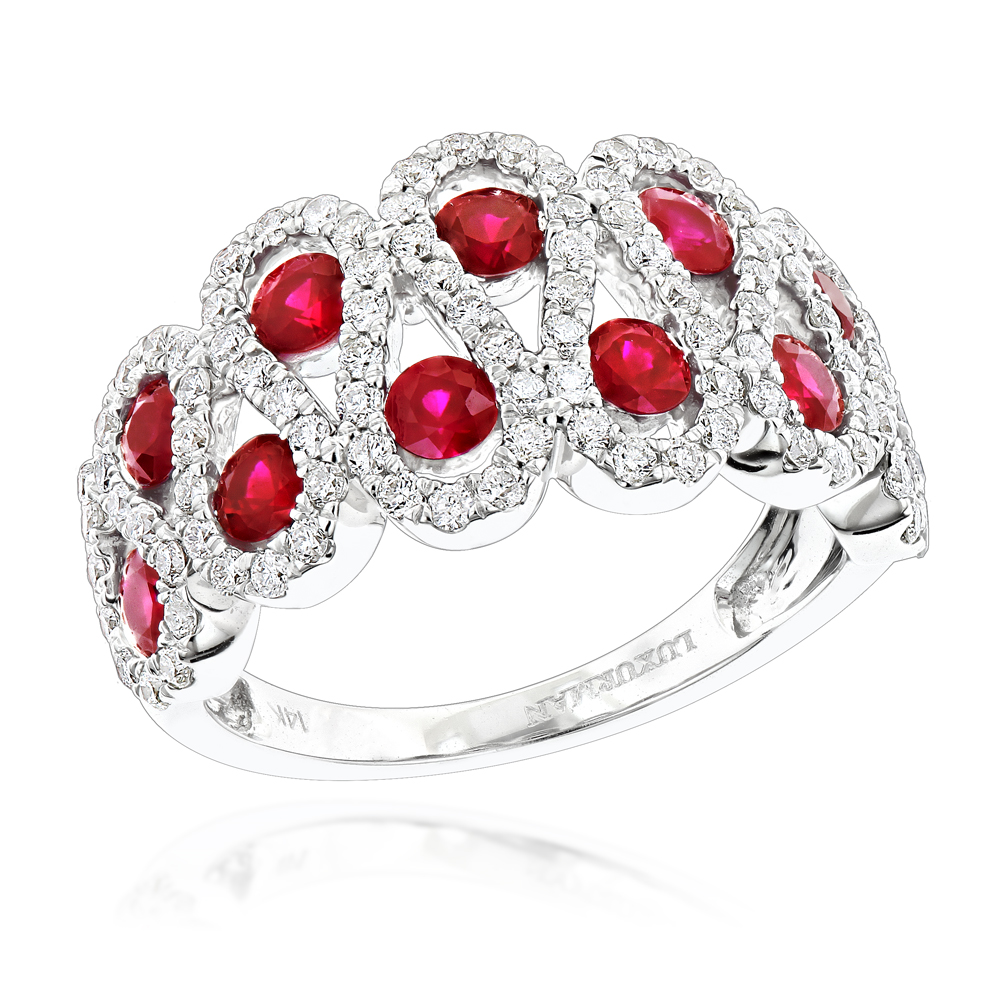 Luxurman Diamonds and Ruby Ladies Cocktail Ring in 14k Gold 1ct White Image