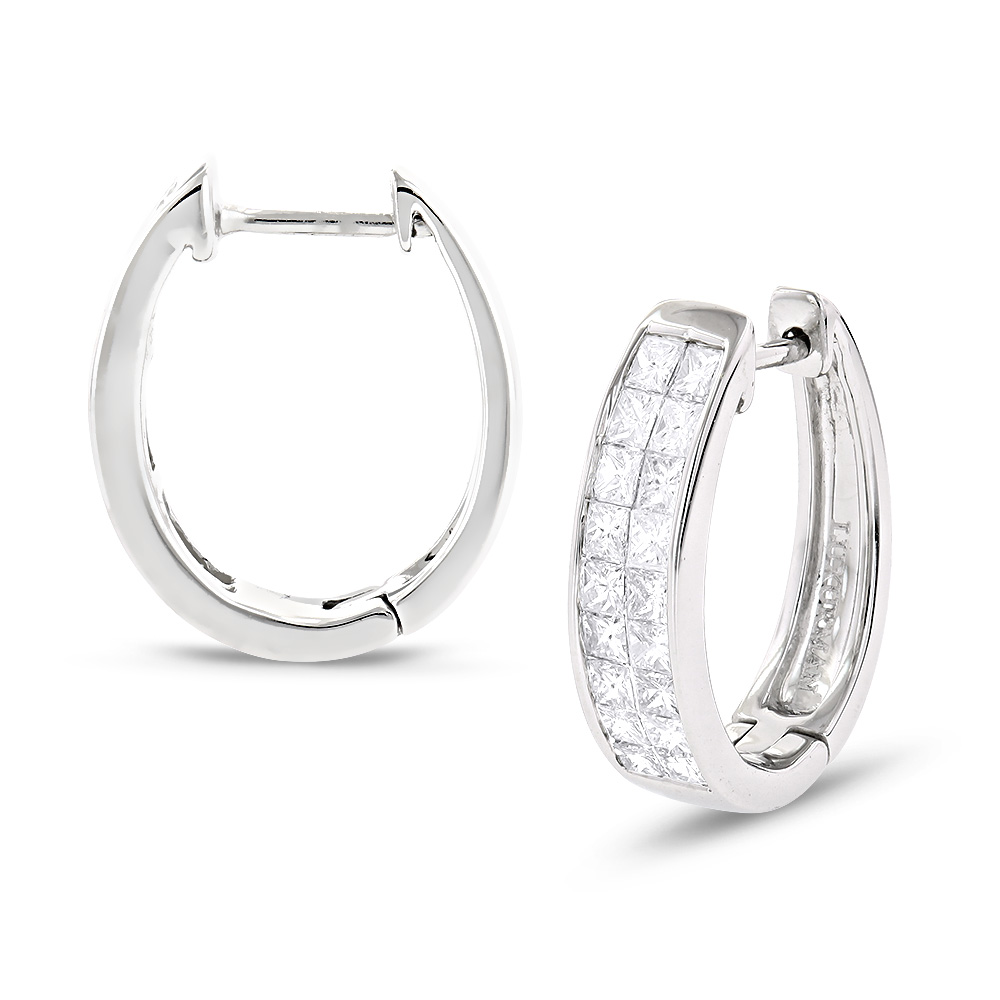 Luxurman Earrings: 14K Gold Princess Cut Diamond Earrings Huggies 1.25ct White Image