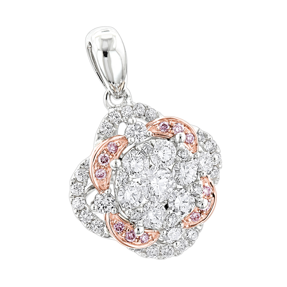Luxurman Flower Cluster White & Pink Diamond Pendant for Women in 14K Gold White Image