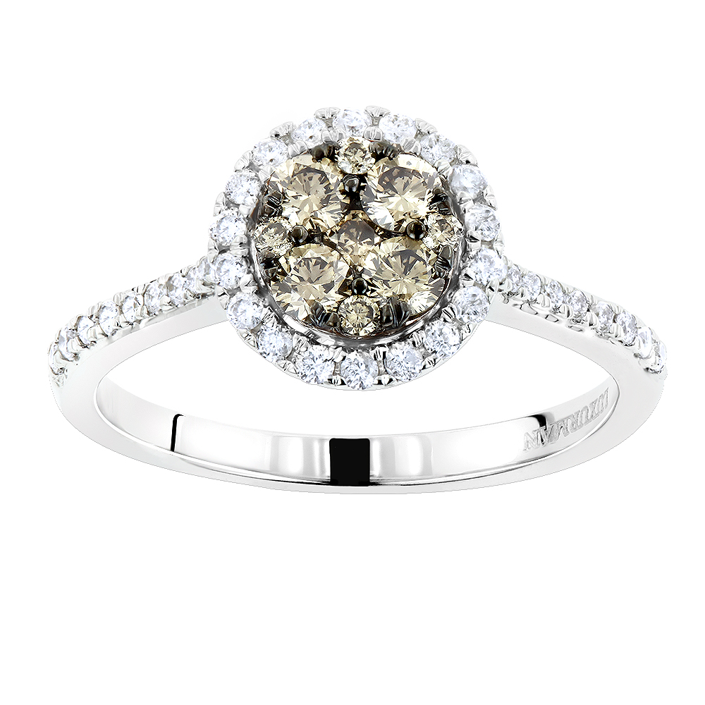 Luxurman Halo Round Champagne Diamond Engagement Ring for Women 14K Gold